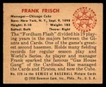1950 Bowman #229 CPR Frankie Frisch   Back Thumbnail