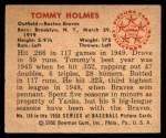 1950 Bowman #110  Tommy Holmes  Back Thumbnail