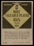 1961 Topps #482   -  Willie Mays Most Valuable Player Back Thumbnail