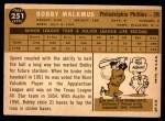 1960 Topps #251  Bobby Malkmus  Back Thumbnail