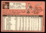 1969 Topps #320  Dal Maxvill  Back Thumbnail