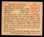 1950 Bowman #26  Grady Hatton  Back Thumbnail