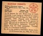 1950 Bowman #181  Marino Pieretti  Back Thumbnail