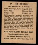 1948 Bowman #27  Sid Gordon  Back Thumbnail
