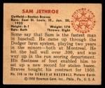 1950 Bowman #248 CPR Sam Jethroe  Back Thumbnail