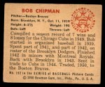1950 Bowman #192  Bob Chipman  Back Thumbnail