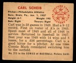 1950 Bowman #213  Carl Scheib  Back Thumbnail