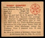 1950 Bowman #184  Randy Gumpert  Back Thumbnail