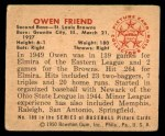 1950 Bowman #189 CPR Owen Friend  Back Thumbnail