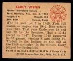 1950 Bowman #148  Early Wynn  Back Thumbnail