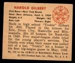 1950 Bowman #235 CPR Tookie Gilbert  Back Thumbnail