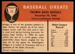 1961 Fleer #95  Tommy Bridges  Back Thumbnail