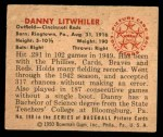 1950 Bowman #198 CPR Danny Litwhiler  Back Thumbnail