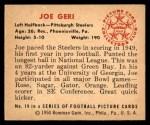 1950 Bowman #19  Joe Geri  Back Thumbnail