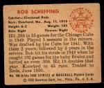 1950 Bowman #168  Bob Scheffing  Back Thumbnail