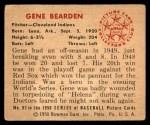 1950 Bowman #93  Gene Bearden  Back Thumbnail
