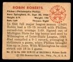 1950 Bowman #32  Robin Roberts  Back Thumbnail