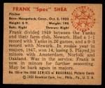 1950 Bowman #155  Frank Shea  Back Thumbnail