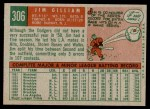 1959 Topps #306  Jim Gilliam  Back Thumbnail