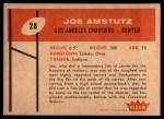 1960 Fleer #28  Joe Amstutz  Back Thumbnail
