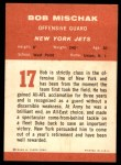 1963 Fleer #17  Bob Mischak  Back Thumbnail