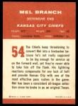 1963 Fleer #54  Mel Branch  Back Thumbnail