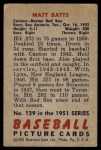 1951 Bowman #129  Matt Batts  Back Thumbnail