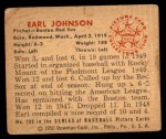 1950 Bowman #188  Earl Johnson  Back Thumbnail