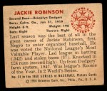 1950 Bowman #22  Jackie Robinson  Back Thumbnail