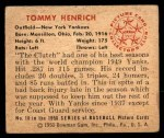 1950 Bowman #10  Tommy Henrich  Back Thumbnail