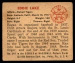 1950 Bowman #240  Eddie Lake  Back Thumbnail