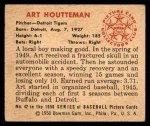 1950 Bowman #42  Art Houtteman  Back Thumbnail
