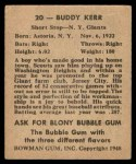 1948 Bowman #20  Buddy Kerr  Back Thumbnail