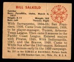 1950 Bowman #237 CPR Bill Salkeld  Back Thumbnail