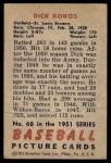 1951 Bowman #68  Dick Kokos  Back Thumbnail