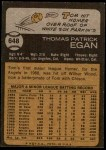 1973 Topps #648  Tom Egan  Back Thumbnail