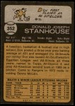 1973 Topps #352  Don Stanhouse  Back Thumbnail