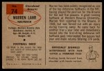 1954 Bowman #74  Warren Lahr  Back Thumbnail