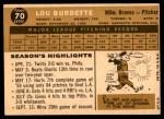 1960 Topps #70  Lew Burdette  Back Thumbnail