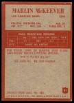 1965 Philadelphia #91  Marlin McKeever   Back Thumbnail