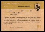 1961 Fleer #161  Ernie Wright  Back Thumbnail