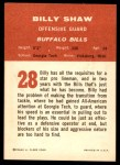 1963 Fleer #28  Billy Shaw  Back Thumbnail