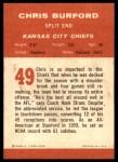 1963 Fleer #49  Chris Buford  Back Thumbnail