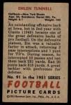 1951 Bowman #91  Emlen Tunnell  Back Thumbnail