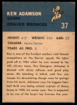 1962 Fleer #37  Ken Adamson  Back Thumbnail