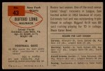 1954 Bowman #43  Buford Long  Back Thumbnail