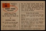 1954 Bowman #38  Buddy Young  Back Thumbnail