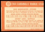 1964 Topps #479   -  Dave Bakenhaster / Johnny Lewis Cardinals Rookies Back Thumbnail