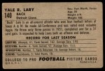 1952 Bowman Large #140  Yale Lary  Back Thumbnail