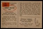 1954 Bowman #101  Gordon Soltau  Back Thumbnail